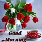 good morning beautiful images cup of tea and rose